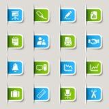 Escritura de la etiqueta - iconos de la oficina y del asunto Imagen de archivo