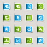 Escritura de la etiqueta - iconos de la oficina y del asunto Fotos de archivo libres de regalías