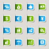 Escritura de la etiqueta - iconos de las finanzas Fotografía de archivo libre de regalías
