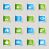 Escritura de la etiqueta - iconos de las propiedades inmobiliarias Foto de archivo libre de regalías