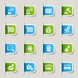 Escritura de la etiqueta - iconos de las propiedades inmobiliarias Imagen de archivo libre de regalías
