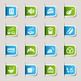 Escritura de la etiqueta - iconos del alimento Imagenes de archivo