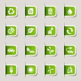 Escritura de la etiqueta - iconos ecológicos Foto de archivo
