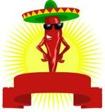 Escritura de la etiqueta mexicana caliente de la pimienta de chile Foto de archivo libre de regalías