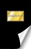 Escritura de la etiqueta negra del oro del cuaderno Imágenes de archivo libres de regalías