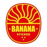 Escritura de la etiqueta o sello del plátano Imágenes de archivo libres de regalías