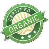 Escritura de la etiqueta orgánica certificada del producto o del alimento Fotos de archivo libres de regalías