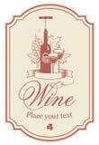 Escritura de la etiqueta para el vino ilustración del vector