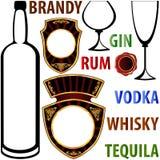 Escritura de la etiqueta para las bebidas alcohólicas Foto de archivo libre de regalías