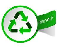 Escritura de la etiqueta que recicla el emblema Fotos de archivo