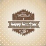 Escritura de la etiqueta retra de la Navidad de la vendimia de Brown Imágenes de archivo libres de regalías