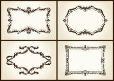 Escritura de la etiqueta retra del ornamento de los marcos del diseño de la vendimia del vector Fotografía de archivo