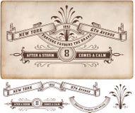 Escritura de la etiqueta retra Elementos del diseño Foto de archivo