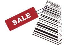 Escritura de la etiqueta roja de la venta con el código de barras Fotos de archivo libres de regalías