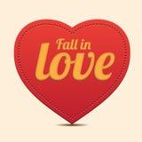 Escritura de la etiqueta roja del corazón - caiga en vector del amor Fotos de archivo
