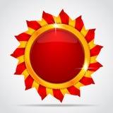 Escritura de la etiqueta roja en la forma del sol Imagen de archivo libre de regalías
