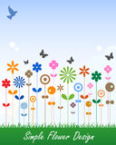 Escritura de la etiqueta simple del mensaje de la tarjeta de la flor Foto de archivo libre de regalías