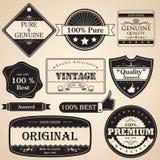 Escritura de la etiqueta superior de la calidad de la vendimia Fotos de archivo libres de regalías
