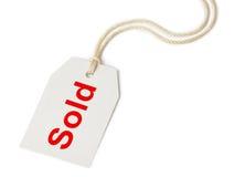 Escritura de la etiqueta vendida foto de archivo libre de regalías