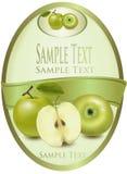 Escritura de la etiqueta verde con las manzanas verdes. Imágenes de archivo libres de regalías