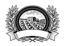 Escritura de la etiqueta verde oliva de la cosecha blanco y negro Fotos de archivo libres de regalías
