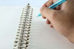 Escritura de la mano Fotos de archivo libres de regalías