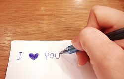 Escritura de la mano Imagen de archivo libre de regalías