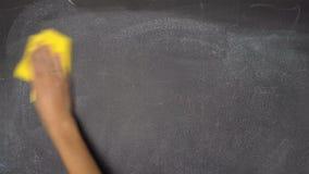 Escritura de la mano ABIERTA, CERRADO en la pizarra negra metrajes