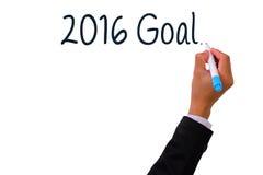 Escritura de la mano del negocio con la meta 2016 del marcador Imagen de archivo libre de regalías