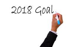 Escritura de la mano del negocio con la meta 2018 del marcador Foto de archivo libre de regalías