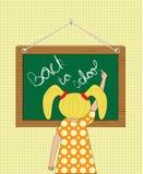 Escritura de la muchacha de nuevo a escuela stock de ilustración
