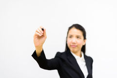 Escritura de la mujer de negocios foto de archivo libre de regalías