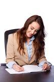 Escritura de la mujer de negocios corporativos Imágenes de archivo libres de regalías