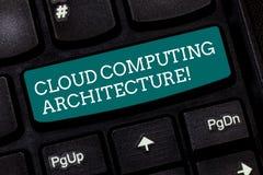 Escritura de la nota que muestra la arquitectura de Cloud Computing Componentes de exhibición de la foto del negocio y las relaci imagen de archivo libre de regalías