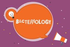 Escritura de la nota que muestra la bacteriología Rama de exhibición de la foto del negocio de la microbiología que se ocupa de l libre illustration