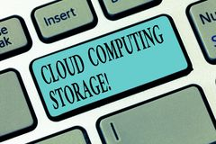 Escritura de la nota que muestra el almacenamiento de Cloud Computing La foto del negocio que muestra datos digitales se almacena foto de archivo libre de regalías