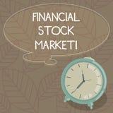 Escritura de la nota que muestra el mercado de acción financiero La foto del negocio que muestra mostrando las seguridades financ libre illustration