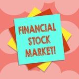 Escritura de la nota que muestra el mercado de acción financiero Foto del negocio que muestra mostrando las seguridades financier stock de ilustración