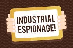 Escritura de la nota que muestra espionaje industrial Forma de exhibición de la foto del negocio de espionaje conducida para los libre illustration