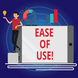 Escritura de la nota que muestra facilidad de empleo Foto del negocio que muestra fácil fácil de usar actuar la tecnología simple libre illustration