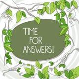 Escritura de la nota que muestra la hora para las respuestas Foto del negocio que muestra el momento correcto para dar la solució stock de ilustración