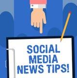 Escritura de la nota que muestra medias extremidades sociales de las noticias Maneras de exhibición de las comunicaciones en líne libre illustration