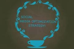 Escritura de la nota que muestra medios estrategia de optimización social Foto del negocio que muestra las estrategias de SEO Adv libre illustration