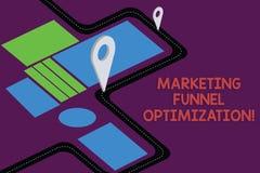 Escritura de la nota que muestra la optimización del embudo del márketing Foto del negocio que muestra mejorando la adquisición d stock de ilustración