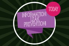 Escritura de la nota que muestra la prevención del escape de la información La información crítica de inhibición de exhibición de stock de ilustración