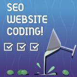 Escritura de la nota que muestra a Seo Website Coding La exhibición de la foto del negocio crea el sitio en manera para hacerla m stock de ilustración