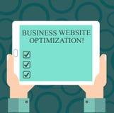 Escritura de la optimización de la página web del negocio de demostración de la nota Alza de exhibición de la foto del negocio y  stock de ilustración