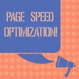 Escritura de la optimización de la velocidad de la página de la demostración de la nota La exhibición de la foto del negocio mejo libre illustration