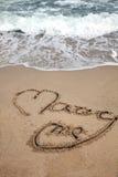 Escritura de la playa imagen de archivo libre de regalías