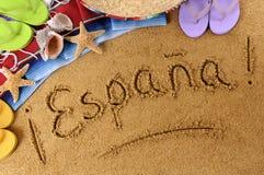 Escritura de la playa de España Imágenes de archivo libres de regalías